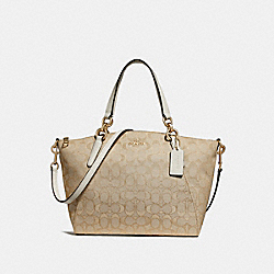 SMALL KELSEY SATCHEL IN SIGNATURE JACQUARD - F27582 - LIGHT KHAKI/CHALK/LIGHT GOLD