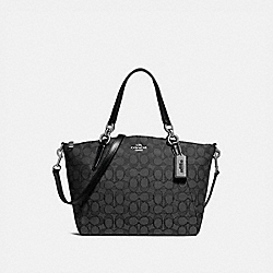 SMALL KELSEY SATCHEL IN SIGNATURE JACQUARD - f27582 - BLACK SMOKE/BLACK/SILVER