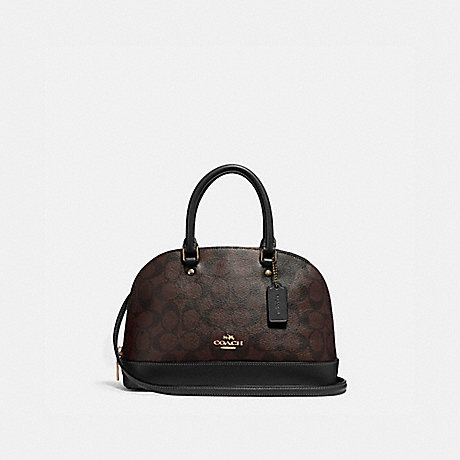 COACH F27583 MINI SIERRA SATCHEL IN SIGNATURE CANVAS BROWN/BLACK/LIGHT-GOLD