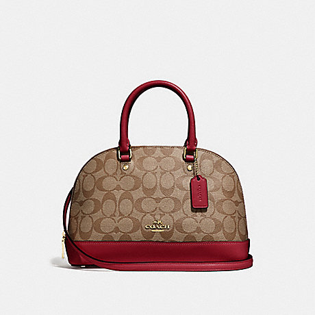 COACH F27583 MINI SIERRA SATCHEL IN SIGNATURE CANVAS KHAKI/CHERRY/LIGHT-GOLD