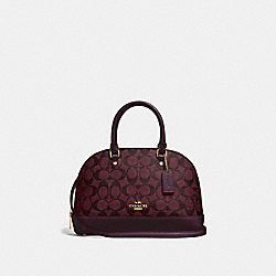 MINI SIERRA SATCHEL IN SIGNATURE CANVAS - F27583 - OXBLOOD 1/LIGHT GOLD