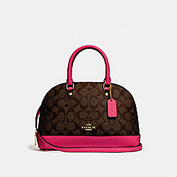 MINI SIERRA SATCHEL IN SIGNATURE CANVAS - F27583 - BROWN/NEON PINK/LIGHT GOLD