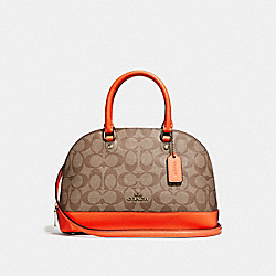 COACH F27583 Mini Sierra Satchel In Signature Canvas KHAKI/NEON ORANGE/LIGHT GOLD