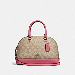 MINI SIERRA SATCHEL IN SIGNATURE CANVAS - F27583 - LIGHT KHAKI/ROUGE/GOLD