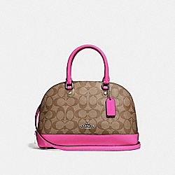 COACH F27583 Mini Sierra Satchel In Signature Canvas KHAKI/CERISE/SILVER