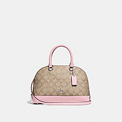 MINI SIERRA SATCHEL IN SIGNATURE CANVAS - F27583 - SV/LIGHT KHAKI CARNATION