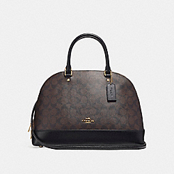 COACH F27584 - SIERRA SATCHEL IN SIGNATURE CANVAS BROWN/BLACK/LIGHT GOLD