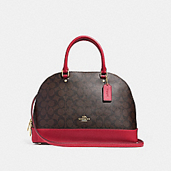 SIERRA SATCHEL IN SIGNATURE CANVAS - F27584 - BROWN/TRUE RED/LIGHT GOLD