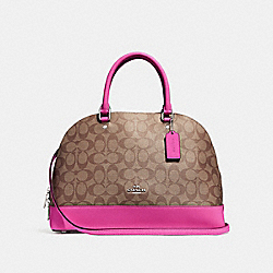 COACH F27584 - SIERRA SATCHEL IN SIGNATURE CANVAS KHAKI/CERISE/SILVER