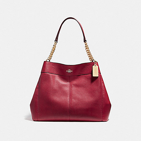 COACH f27594 LEXY CHAIN SHOULDER BAG LIGHT GOLD/DARK RED