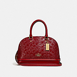 MINI SIERRA SATCHEL - f27597 - LIGHT GOLD/DARK RED