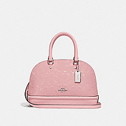 MINI SIERRA SATCHEL IN SIGNATURE LEATHER - F27597 - PETAL/SILVER