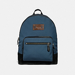 WEST BACKPACK IN CORDURA - f27609 - DENIM/BLACK ANTIQUE NICKEL