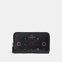 COACH F27678 Medium Zip Around Wallet With Cut Out Tea Rose BLACK/DARK GUNMETAL