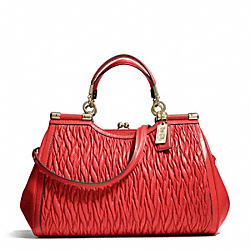 COACH F27681 - MADISON GATHERED TWIST CARRIE SATCHEL LIGHT GOLD/LOVE RED