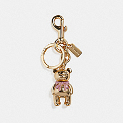 3D BOW BEAR BAG CHARM - f27696 - GOLD/GOLD