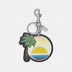 COACH F27708 Palm Tree Bag Charm MULTI/SILVER
