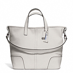 COACH F27728 - HADLEY LEATHER DUFFLE SILVER/PARCHMENT