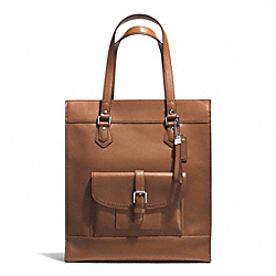 COACH F27823 - CHARLIE LEATHER TOTE  SILVER/SADDLE