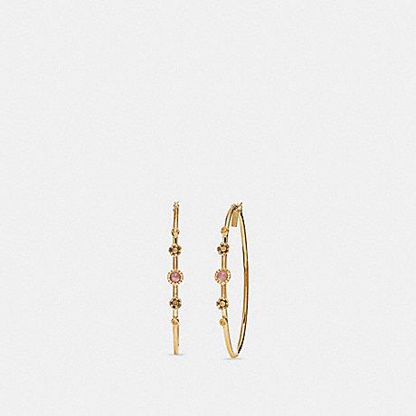 COACH F27835 SUNBURST HOOP EARRINGS AMETHYST/GOLD