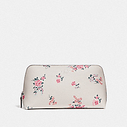COACH F27840 Cosmetic Case 22 With Cross Stitch Floral Print SILVER/CHALK MULTI