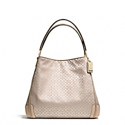 COACH F27843 Madison Op Art Pearlescent Fabric Small Phoebe Shoulder Bag LIGHT GOLD/PEACH ROSE