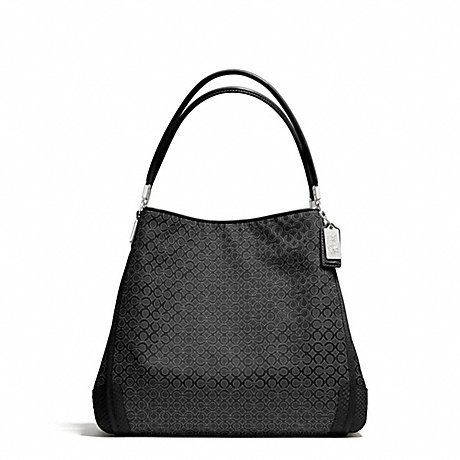 COACH F27843 MADISON OP ART PEARLESCENT FABRIC SMALL PHOEBE SHOULDER BAG SILVER/BLACK