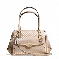 COACH F27848 Madison Op Art Pearlescent Small Madeline East/west Satchel LIGHT GOLD/PEACH ROSE