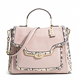 COACH F27851 Madison Two-tone Python Embossed Leather Sadie Flap Satchel