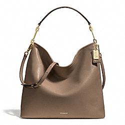 MADISON LEATHER HOBO - f27858 - LIGHT GOLD/SILT