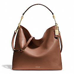 MADISON LEATHER HOBO - f27858 - LIGHT GOLD/CHESTNUT