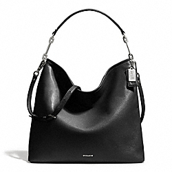 MADISON LEATHER HOBO - f27858 - SILVER/BLACK