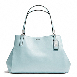 COACH F27859 - MADISON LEATHER  CAFE CARRYALL  SILVER/SEA MIST