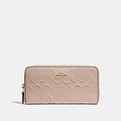 COACH F27865 Accordion Zip Wallet In Signature Leather NUDE PINK/LIGHT GOLD