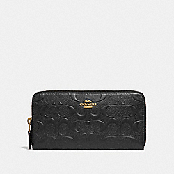 COACH F27865 Accordion Zip Wallet In Signature Leather BLACK/LIGHT GOLD