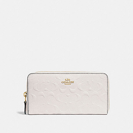 117e9087b4d91 COACH f27865 ACCORDION ZIP WALLET IN SIGNATURE LEATHER CHALK LIGHT GOLD