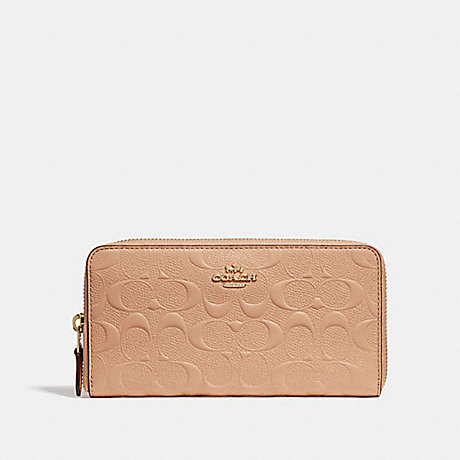 COACH F27865 ACCORDION ZIP WALLET IN SIGNATURE LEATHER BEECHWOOD/LIGHT-GOLD