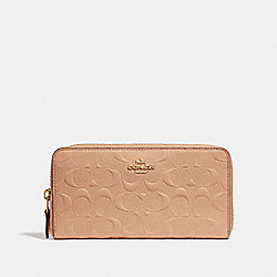 COACH F27865 Accordion Zip Wallet In Signature Leather BEECHWOOD/LIGHT GOLD