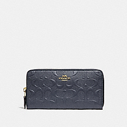 COACH F27865 Accordion Zip Wallet In Signature Leather MIDNIGHT/LIGHT GOLD