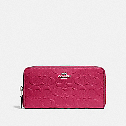COACH F27865 Accordion Zip Wallet In Signature Leather SILVER/HOT PINK