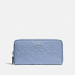 ACCORDION ZIP WALLET IN SIGNATURE LEATHER - f27865 - SILVER/POOL