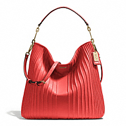 MADISON PINTUCK HOBO - f27881 - LIGHT GOLD/LOVE RED