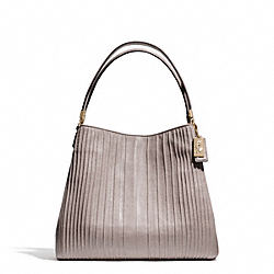 COACH F27885 Madison Pintuck Leather Small Phoebe Shoulder Bag LIGHT GOLD/GREY BIRCH