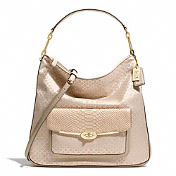 COACH F27906 - MADISON HOBO IN OP ART PEARLESCENT FABRIC  LIGHT GOLD/PEACH ROSE