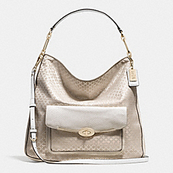 COACH F27906 Madison Op Art Pearlescent Hobo LIGHT GOLD/NEW KHAKI