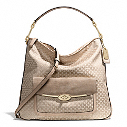 COACH F27906 - MADISON OP ART PEARLESCENT HOBO LIGHT GOLD/KHAKI