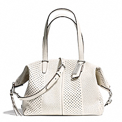 COACH F27913 Bleecker Striped Perforated Leather Cooper Satchel SILVER/PARCHMENT