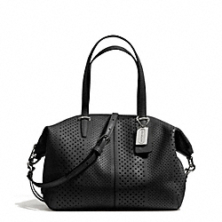 COACH F27915 Bleecker Striped Perforated Leather Small Cooper Satchel SILVER/BLACK