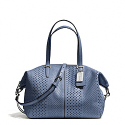 COACH F27915 Bleecker Striped Perforated Leather Small Cooper Satchel SILVER/CORNFLOWER