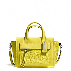 COACH F27923 Bleecker Leather Mini Riley Carryall SILVER/ACID GREEN